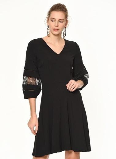 Random Dantel Detaylı Balon Kollu Kısa Elbise Siyah